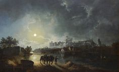 Henry Pether (1800-1865) Oil painting Moonlit scene of Windsor Castle from across the river,