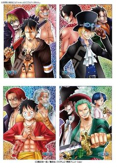 Trafalgar Law (with Donquixote Rosinante and Doflamingo), Sabo (with Portgas D. Ace and Monkey D. Dragon), Monkey D. Luffy (with Shanks and Silvers Rayleigh), Roronoa Zoro (with Dracule Mihawk and Kuina) - One Piece