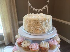 Close up on the rosettes! Love this style for a wedding cake. Made by the Sand Springs pastry chef.