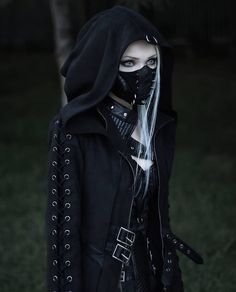 """Gothic fashion 341851427966493874 - Name my race? Full outfit from: Punk Rave.official 🌟Off code: """"ANYDEATH"""" ▪️ Details⤵️ """"Mental Renovation Mask"""", """"Night Missionner Coat"""" & """"Fantastic Collar"""" by Punk Rave.official Source by BizarreDancer Gothic Outfits, Edgy Outfits, Fashion Outfits, Hot Goth Girls, Gothic Girls, Dark Fashion, Gothic Fashion, Steampunk Fashion, Emo Fashion"""