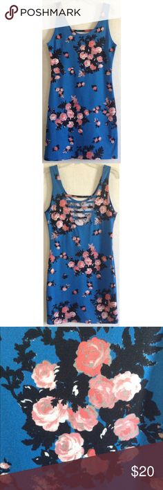 Audrey 3+1 Caged Back Floral Dress Good condition. Quite a bit of pilling on the fabric but not super noticeable. Super cute Audrey 3+1 sleeveless dress. Cobalt blue background with pink and black floral pattern. The flowers look like a painting. Ladder strap cage on the back. Bodycon style dress with stretchy material. No size or material tags. Measures to be about a size small. Measurements: Armpit to armpit 16 inches across. Waist 13.5 inches across. Length 33.5 inches. All offers welcome…
