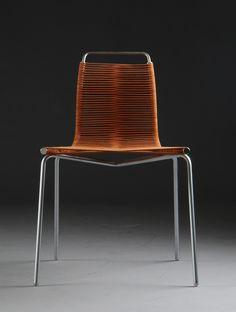 Poul Kjærholm; #PK-1 Brushed Steel and Flag Halyard Side Chair, 1956.