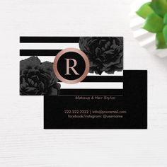 Makeup Artist Hair Stylist Rose Gold Monogram Business Card
