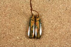 Black Feather Jasper Earring Pair  Orange Yellow and by ABOSBeads
