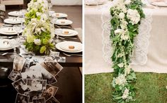 love the white and green with lace!