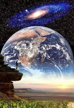 Land, Earth, & Milky Way- astronomy nov. Cosmos, Psy Art, Montage Photo, Bible Truth, Jehovah's Witnesses, To Infinity And Beyond, Gods Creation, Milky Way, Planet Earth