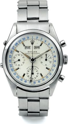 "Vintage, rare and exceptional Rolex Oyster ""Jean-Claude Killy"" Anti-Magnetic, Triple-Date (day-date-month) Chronograph, ref. 6036 in stainless steel. You don't ask your local store for this, you pray for a hand-me-down or a winning lottery ticket. Very few examples were made in the 1950's, and even fewer have survived."