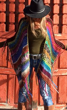 "Items similar to Thigh Length Knitted Womens Bohemian Festival Hippie Beach Poncho Cape Shawl (""For Tracy"") on Etsy - Fibre Crush Crochet Poncho With Sleeves, Knitted Poncho, Boho Gypsy, Hippie Boho, Boho Fashion, Autumn Fashion, Look Boho, Mode Inspiration, Crochet Clothes"