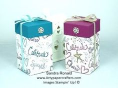 Stampin' Up Gift Box with hand stamped Base using Love Sparkles