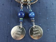 Blue Lapis Lazuli Live Your Dream Earrings by GemstoneJewelrybyVal, $12.00