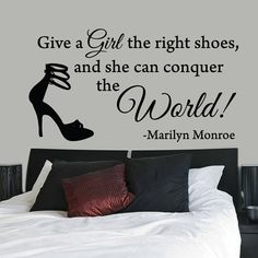 All Wall Stickers :: Give A Girl The Right Shoes Marilyn Monroe Quote Wall  Sticker Part 54