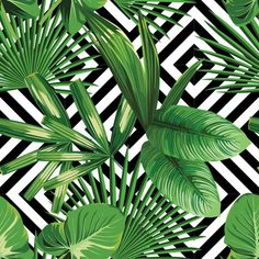 tropical palm leaves pattern, geometric background Vinyl Wall Mural - Canvas Prints Sold