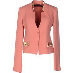Patrizia Pepe Sera Blazer ($280) ❤ liked on Polyvore featuring outerwear, jackets, blazers, salmon pink, pink jacket, pink blazer, pink blazer jacket, patrizia pepe jacket and blazer jacket