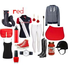 Red by pete-is-my-horse on Polyvore featuring Maison Kitsuné, Warehouse, Joules, Converse, Ariat, Sperry Top-Sider, Charming Life, OPI, SIGG and JEFFRIES
