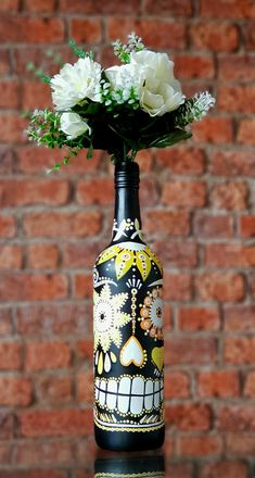 Handmade Mexican Day of the Dead Sugar Skull, decorated bottle. Vase/ candleholder. Yellow