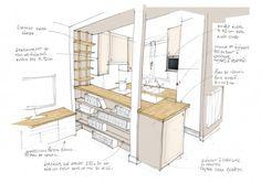 Optimisation de l'aménagement d'une petite cuisine ouverte - croquis http://www.homelisty.com/comment-optimiser-amenagement-petite-cuisine-ouverte/