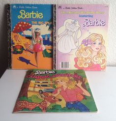 Vintage Barbie Children's Books Lot x3 Little Golden 80s 90s Camping Beach Bride