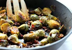 Maple-Roasted Brussel Sprouts with Bacon + Toasted Hazelnuts  - I love roasted brussels sprouts.  Never thought of adding maple syrup.  As always, sans bacon.