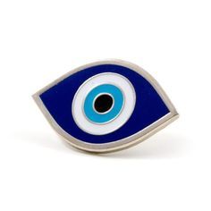 "I got my eye on you - Silver enamel pin with colored enamel - Rubber backing - Measures .5"" tall x 1"" wide"