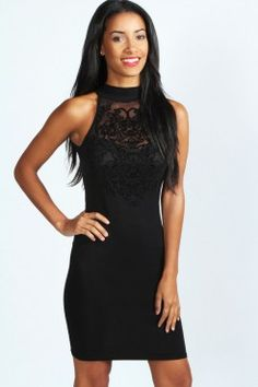d1b6f543be8 Esme Flock Front Detail High Neck Bodycon Dress at boohoo.com Going Out  Dresses