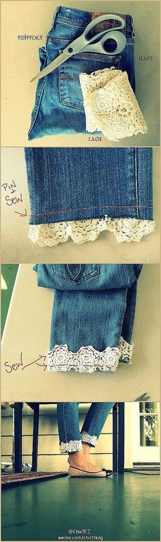 Add lace to jean cuffs -- I've always wanted to do stuff like this with my clothes.