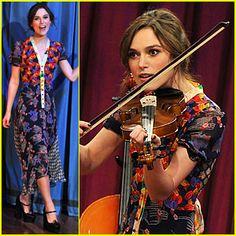 Keira Knightley plays the violin