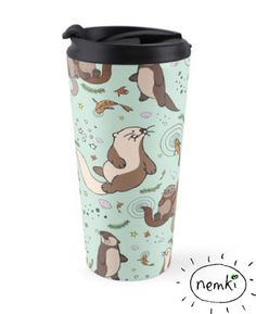 Illustrated 15oz/443ml travel mug with an original Nemki illustration of sea otters in the ocean. Perfect for taking your tea, coffee or hot chocolate with