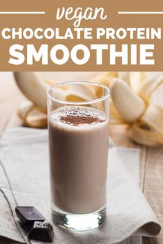 This vegan chocolate protein smoothie packs in 14 grams of plant based protein! Plus, this vegan smoothie recipe only uses a couple simple ingredients. This is a great post workout shake option!