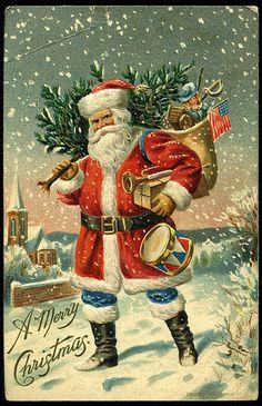 #Christmas #Santa #St Nick #American #flag #snow #vintage #postcard