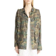 Saint Laurent Camo Print Oversized Cotton Jacket ($1,350) ❤ liked on Polyvore featuring outerwear, jackets, vintage camo, camoflage jacket, oversized jacket, vintage camo jacket, brown cotton jacket and cotton jacket