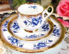Aynsley English Tea Trio Powder Blue Floral Bone by LCVintageChic