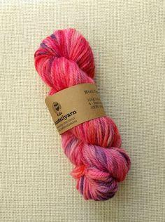 Hand dyed aran weight yarn - bright pink, red and purple splashes - wool - skein Best Ballpoint Pen, Lace Knitting, Knitting Patterns, Aran Weight Yarn, Sock Yarn, Hand Dyed Yarn, Bright Pink, Wool, Purple