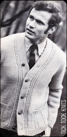 Vintage Knitting Pattern Men's Mock Gull Stitch Cardigan Sweater, via Etsy.