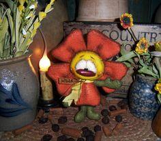 "Primitive Flower 6"" Raggedy Ann Doll Vtg Patti's Ratties Rabbit Bear Artist Gift"