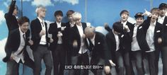 Dorky EXO ^^ <3... and Kris doing his on thing (w/ Yixing as the only normal one , featuring an awkward Tao in the corner lol)