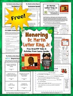 Dr. Martin Luther King, Jr. Video Resources is a CCSS Aligned packet of teaching strategies and printables created by Laura Candler to supplement a free video and its related resources on BrainPop.com*.