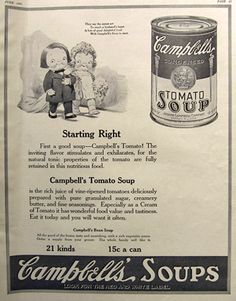 1921 Campbell's Tomato Soup Ad ~ Campbell's Kids Bride & Groom