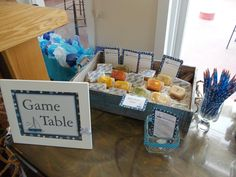 Nautical Baby Shower game table guess the baby food