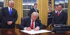 """Top News: """"WORLD POLITICS: World React to President Trump's Sweeping Refugee Ban"""" - http://politicoscope.com/wp-content/uploads/2017/01/Donald-Trump-Signing-USA-POLITICS-HEADLINE-NEWS-TODAY.jpg - """"US is where Christian traditions have important meaning. Loving your neighbor is a major Christian value and includes helping people,"""" Germany's Gabriel.  on World Political News - http://politicoscope.com/2017/01/29/world-politics-world-react-to-president-trumps-sweeping-refugee-ba"""