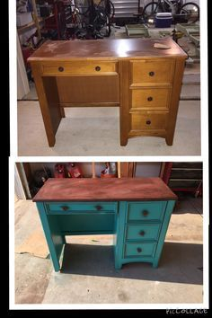 I brought this old desk to life. Stripped the old top down to its natural wood then stained it a nice rich walnut color. Added a triple thick coat of polyurethane. Did a quick sand over the rest of desk then applied 2-3 coats of paint. Of course let dry between coats. Sanded down the areas I distressed, then added a little stain to get the finish I wanted. Sanded creases, applied stain. Sealed with wax coat. Look how beautiful this turned out.