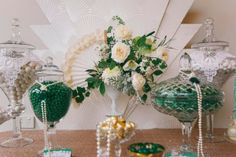 Little Big Company | The Blog: 1920s Wedding Inspiration with Emerald and Gold tones by The Couture Candy Buffet Company