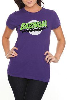 The Big Bang Theory Bazinga! Girls T-Shirt.... I gotta get me one of these! Lol