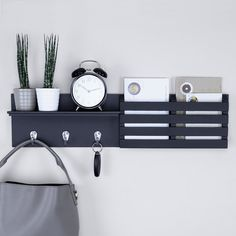 Ballucci Mail Holder and Coat Key Rack Wall Shelf with 3 Hooks, x Black: Home & Kitchen. Get this Mail Holder and Coat Key Rack Wall Shelf for your Home @ reasonable price. Display Shelves, Wall Shelves, Key Shelf, Mail And Key Holder, Mail Holder Wall, Mail Storage, Storage Hooks, Coat Rack Shelf, Entryway Organization