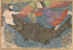 "Islamic Art - ""Jonah and the Whale"", Folio from a Jami al-Tavarikh (Compendium of Chronicles) ca. 1400 by Illustrated manuscript La Résurrection Du Christ, Constellations, World History Facts, Jonah And The Whale, Biblical Art, Wale, Illustration, Medieval Art, Fresco"