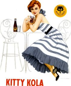 Kitty Kola was a cola-flavoured soft drink. It was produced in Sweden and bottled by Kopparbergs Bryggeri, Sofiero Bryggeri, Fagerdals Bryggeri and Fågelfors Bryggeri & Läskedrycksfabrik. Vintage Advertisements, Vintage Ads, Vintage Posters, Retro Ads, Vintage Clip, Vintage Stuff, Vintage Illustration Art, Very Lovely, Beautiful