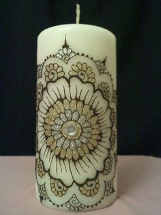 Silver & Gold Henna Bling Candle by loves2henna on Etsy, $30.00
