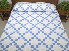 Blue and Cream Nine Patch Quilt Photo 1
