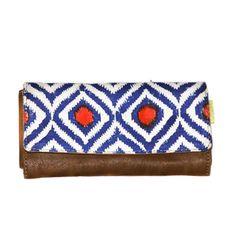 Foldover Wallet - Blue & Orange Ikat