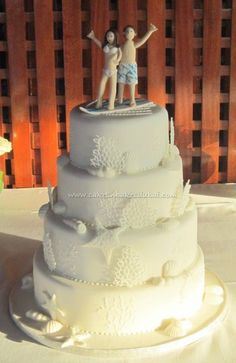 Surfer Couple Wedding Cake