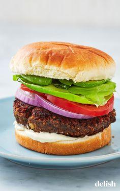 These Black Bean Burgers Have Some Genius Secret IngredientsDelish Best Burger Recipe, Burger Recipes, Veggie Recipes, Vegetarian Recipes, Cooking Recipes, Healthy Recipes, Beef Recipes, Healthy Food, Healthy Dishes
